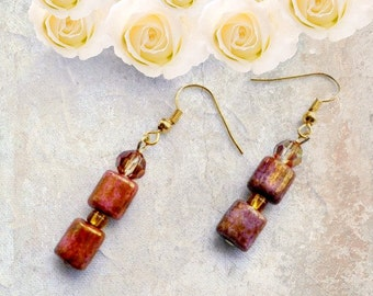 Earrings - Copper Luster Squares and Swarovski Crystal Earring Set