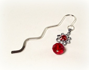 Red Crystal Flower Bookmark - Red Bookmark
