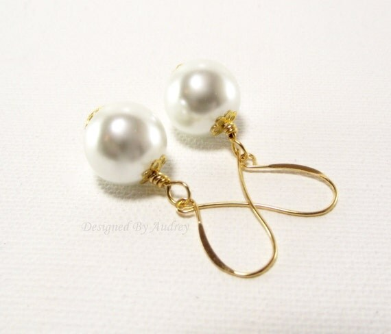 White Pearl Earrings Accented in Gold