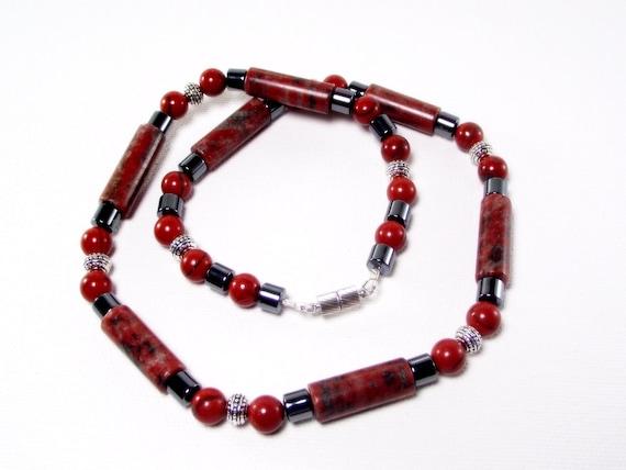 Red Necklace - Mens Red Sesame Jasper Necklace