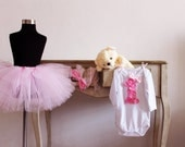 1st birthday baby outfit: pink tutu skirt with white onesie and matching headband photo prop  vintage glamour wedding