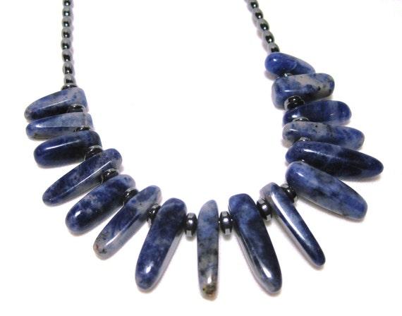Sodalite Necklace, Denim Blue, Stone Daggers, Hematite Bead, Gemstone Fringe Necklace, Native American, Southwest Necklace