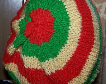 Slouchy Beanie Green Red Yellow or Black Stripe Hand Knit Beret Rasta Tam Jamaican Pan African New Striped Made to Order