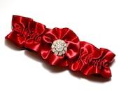 Wedding Garter, Bridal Garter, Boudoir Garter, Prom Garter - Apple Red Wedding Garter, Gold and Crystal Rhinestone Garter