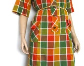 Vintage Cotton Checker Pocket Dress