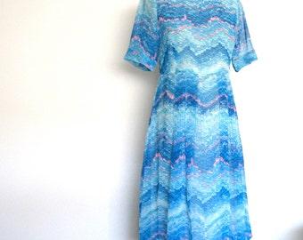 Japanese Vintage 70's Chiffon Watercolor Print Dress