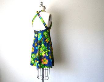 Vintage Cotton Neon Floral Flare Dress