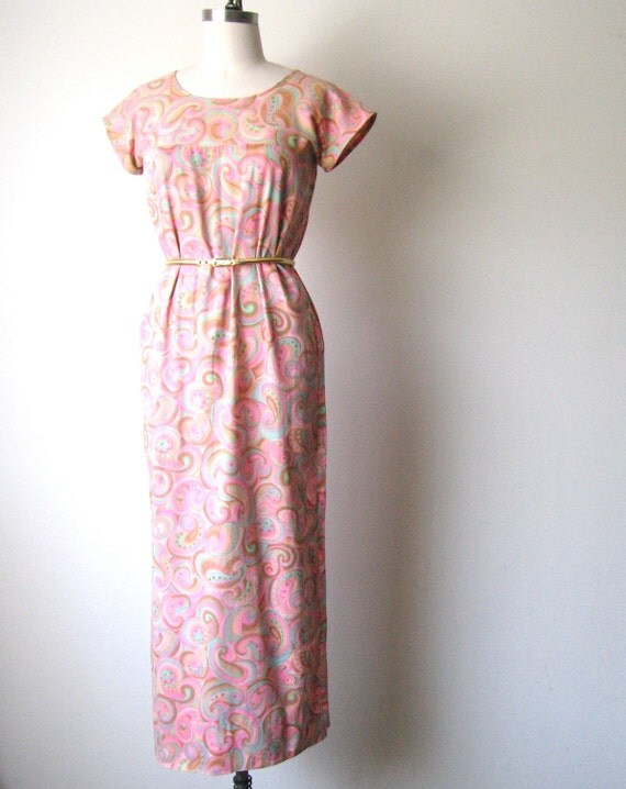 SALE Vintage Cotton Paisley Maxi Dress