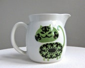Kaj Franck for Arabia Pitcher with Green and Black Cat - Finland