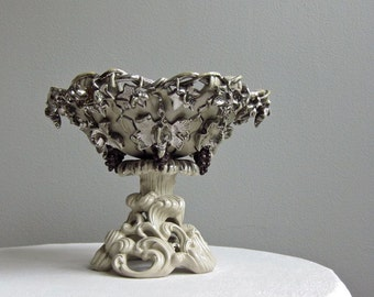 Antique Villeroy and Boch Mettlach Silver Lustre Ceramic Centerpiece - Cake Basket circa 1880 - Grapes Harvest Kitchen Decor Rococo Revival
