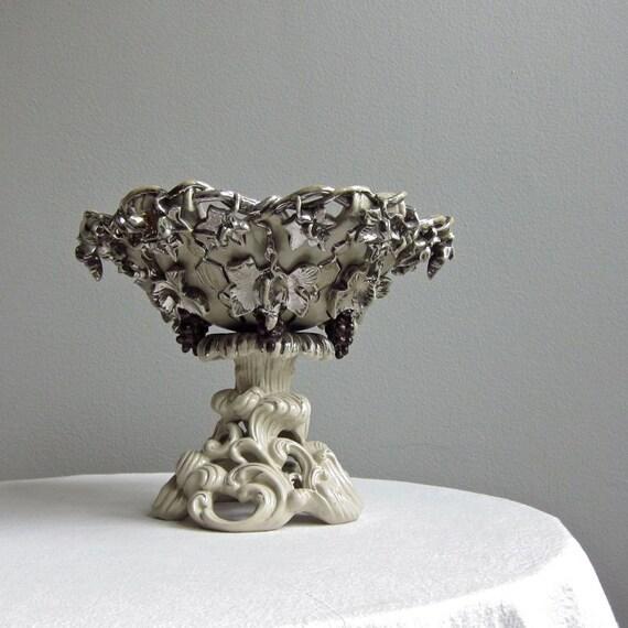 Antique Villeroy and Boch Mettlach Silver Lustre Ceramic Centerpiece - Cake Basket circa 1880 - Grapes Harvest Kitchen Decor Rococo Revival