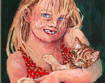"Original Oil Painting on canvas,Little Girl and Cat,""Smile"",8X10 framed painting by Patty Fleckenstein"