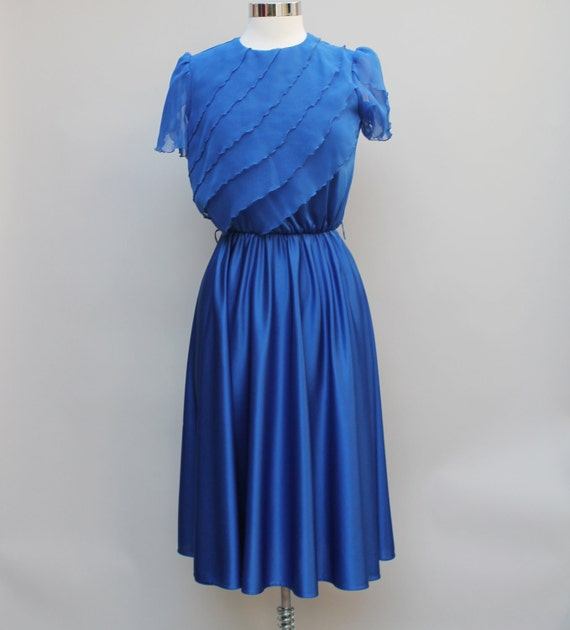 70s Vintage blue disco dress, silky, frilly, sheer, shiny, polyester - SMALL
