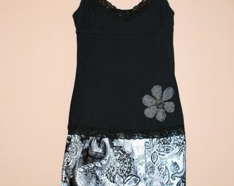 Upcycled Black and white  flower sundress.