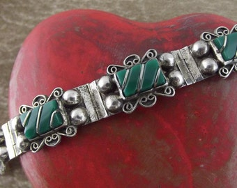 Vintage Mexican Sterling Silver and Green Onyx Bracelet