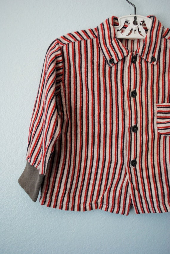 vintage toddler boy grey striped flannel