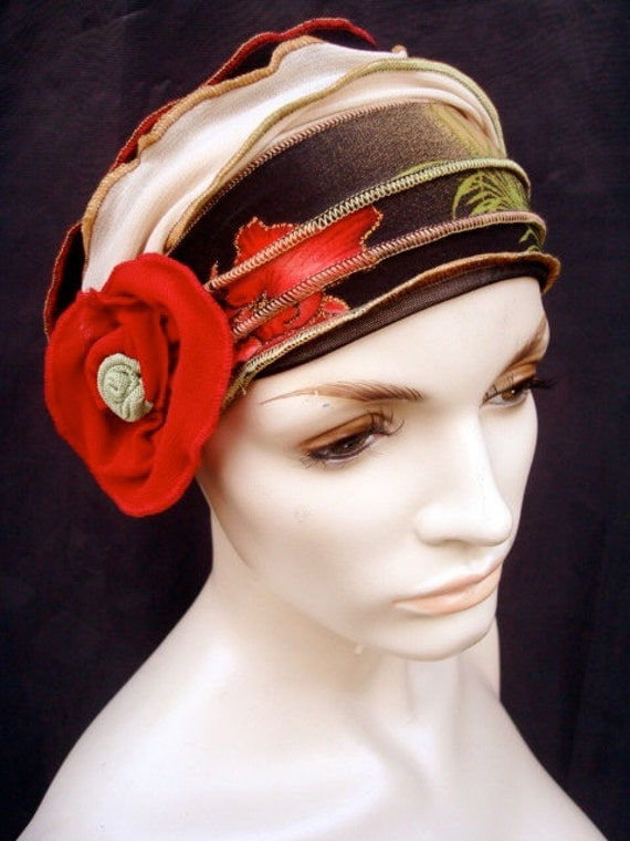 Funky  Flower Womens Gypsy Vintage style Headband hat chemo 1920s  adult