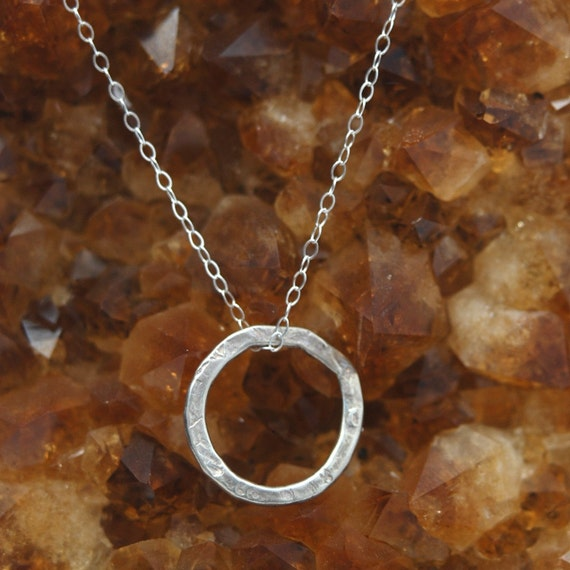 Hammered Circle Geometric Ring pendant charm necklace in Sterling Silver SIMPLICITY