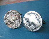 buffalo nickel cufflinks - bison cuff links men traditional native plains fashion