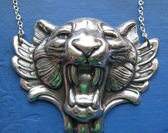 gothic winged tiger necklace in silver