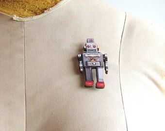 horikawa japan robot brooch - walking spaceman robot pin, fighting spaceman robot pin