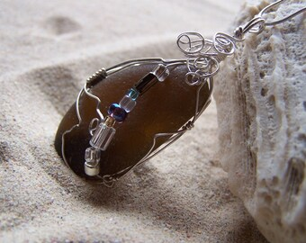 """Sea Glass Necklace -- Fancy Beaded """"Black"""" Glass with Intricate Sterling Silver Wrap on Sterling Silver Box Chain BL 01"""