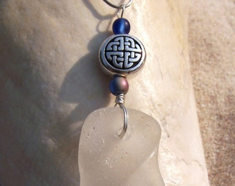 Sea Glass Necklace - Frosty White Bottle Rim with Marbled Blue Glass Accent Beads and Sterling Celtic Knot Charm W 16