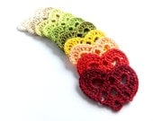 CIJ SALE Crocheted hearts applique, embellishments, Wedding decorations, scrapbooking, colorful lace hearts /set of 10/