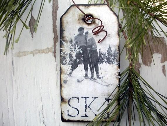 Love on the Ski Slopes - Vintage Ski - Gift Tag - Ski Ornament - Ski Decor - Vintage Couple - Valentine