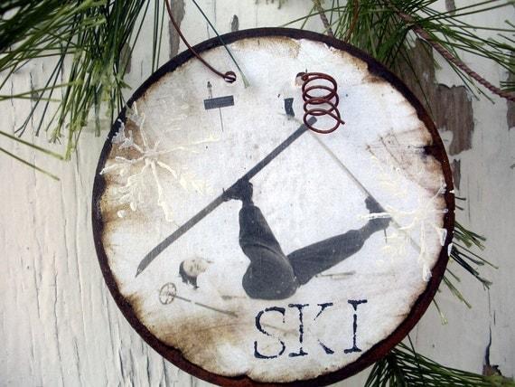 "Vintage Gal - ""I Love to Ski"" - Rusty Tin Ornament - Christmas Ornament - Vintage Ski - Gift Tag - Ski Ornament - Skier - Ski Decor - Women"