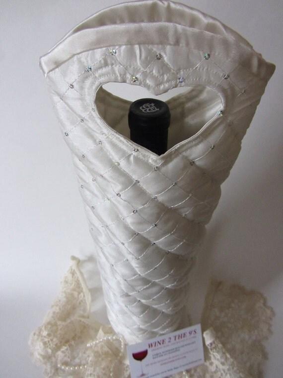Wedding Bridal Wine Bottle Gift Bag Ivory Sequined / Wedding Centerpiece/Bridal Keepsake