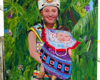 American Beauty Seminole Princess Florida Everglades Large Painting