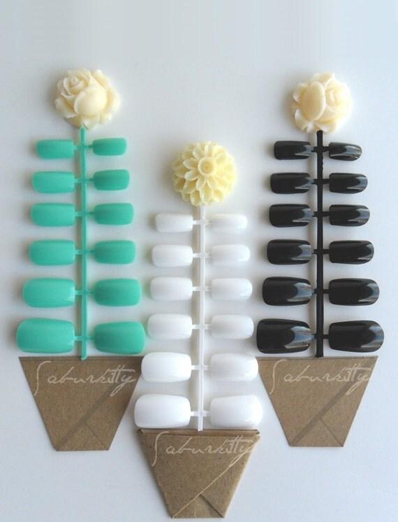 Mint White Black Nails 6 Blanks w/ Nail Art PDF Tutorial DIY Kit teal seafoam grey jade green fake acrylic artificial supplies with glue