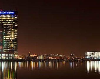Baltimore Skyline, Go Ravens,  Baltimore Harbor East, Fine Art  Print, , Baltimore Photography Baltimore Art