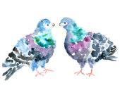 Colorful, Bird Nursery Print, Pigeon Print, teal, dove print, purple, Bird Painting, Kids Wall Art, Print of Original Watercolor Painting