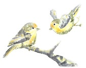 Grey Yellow Nursery Art, Nursery PRINT, Bird Nursery Decor, Yellow Bird Painting, Bird Nursery Watercolor