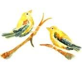 Yellow Nursery Art, Cute Bird Painting, Bird Watercolor Painting, Yellow Nursery Decor, Animal Art - Puff of Love, Sweet Puffs