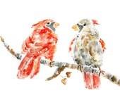 Cardinals Print, Bird Print, cardinal painting, red, winter wall decor, Whimsical, Bird Painting, Cardinal Love Puffs