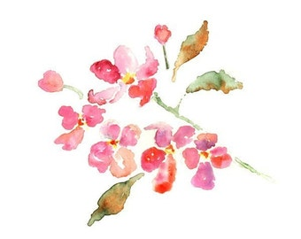 Print of Flower Watercolor, Pink Wall Art, Dogwood Painting, Watercolor Flowers, Spring Decor