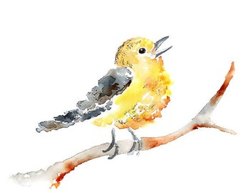 Yellow Bird Watercolor, Yellow Nursery, Art Print, Bird Painting, Girl's nursery print, Girl's Nursery Decor, Bird, Nursery Art