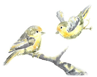 Grey Yellow Nursery Art, Nursery PRINT, Bird Nursery Decor, Yellow Bird Painting, Bird Nursery Watercolor