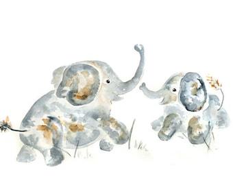 Custom elephant print, Nursery Art Print, Baby Shower gift, Personalized Baby Gift, Baby Boy Nursery, Elephant Nursery, Baby decor