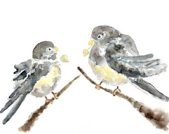Bird art Print, Grey Nursery Print, Junco, Bird Nursery Art, Junco Painting, yellow nursery decor, bird watercolor painting