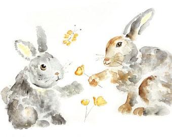 Bunny Nursery, Art Print of Watercolor Painting, Watercolor Nursery Art, Woodland Nursery Decor, Playroom Decor, Animal Nursery Print