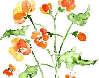 watercolor flower art,  orange flower print, orange wall art, watercolor print,  flower painting, bathroom art, bathroom print