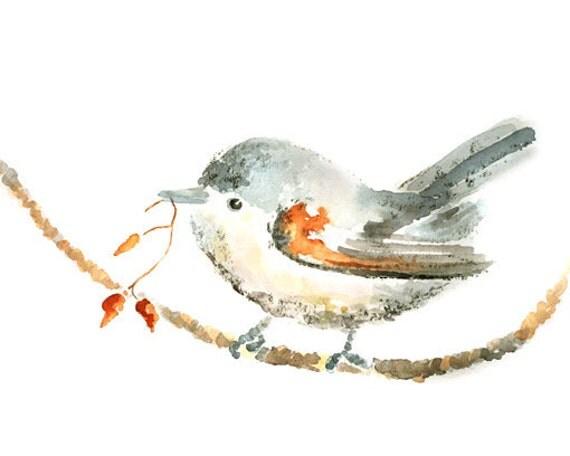 Watercolor Bird Print, Whimsical Autumn Decor, Orange Bird Painting, Bird Watercolor Print, Watercolor Bird Painting, Bird Wall Art