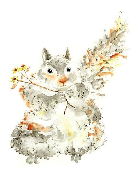 watercolor nursery art, squirrel print, woodland nursery, baby girl nursery, squirrel painting, woodland painting, woodland decor