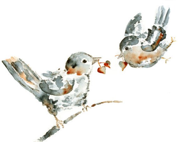 Love birds print, Gift for girlfriend, bird art, Bird Painting,Gift for Wife, Anniversary Gift, watercolor painting, gray, cinnamon