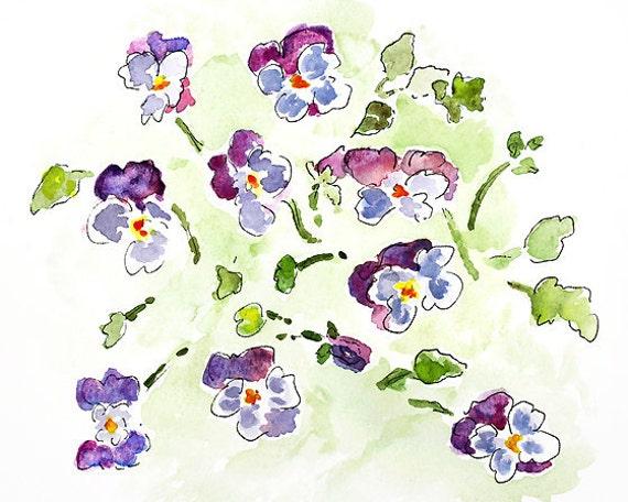 watercolor flower print, pansies, watercolor painting, lavender, green, flower painting, bathroom decor -  Pansy Splash