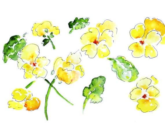 Flower Watercolor Print, Bathroom Wall Art, Flower Art, yellow bathroom art, Pansies, yellow bathroom decor